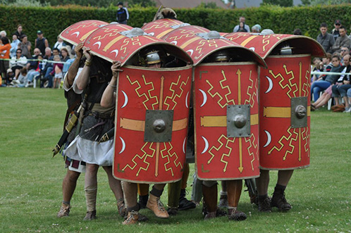 Legionaries doing the testudo. I'm on the left of the picture.