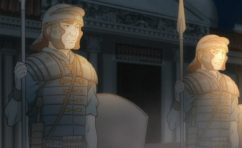 Two legionaries with segmentata in this capture from the anime.
