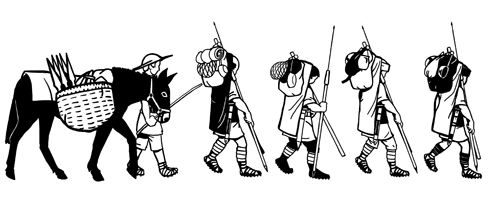 A drawing of legionaries marching