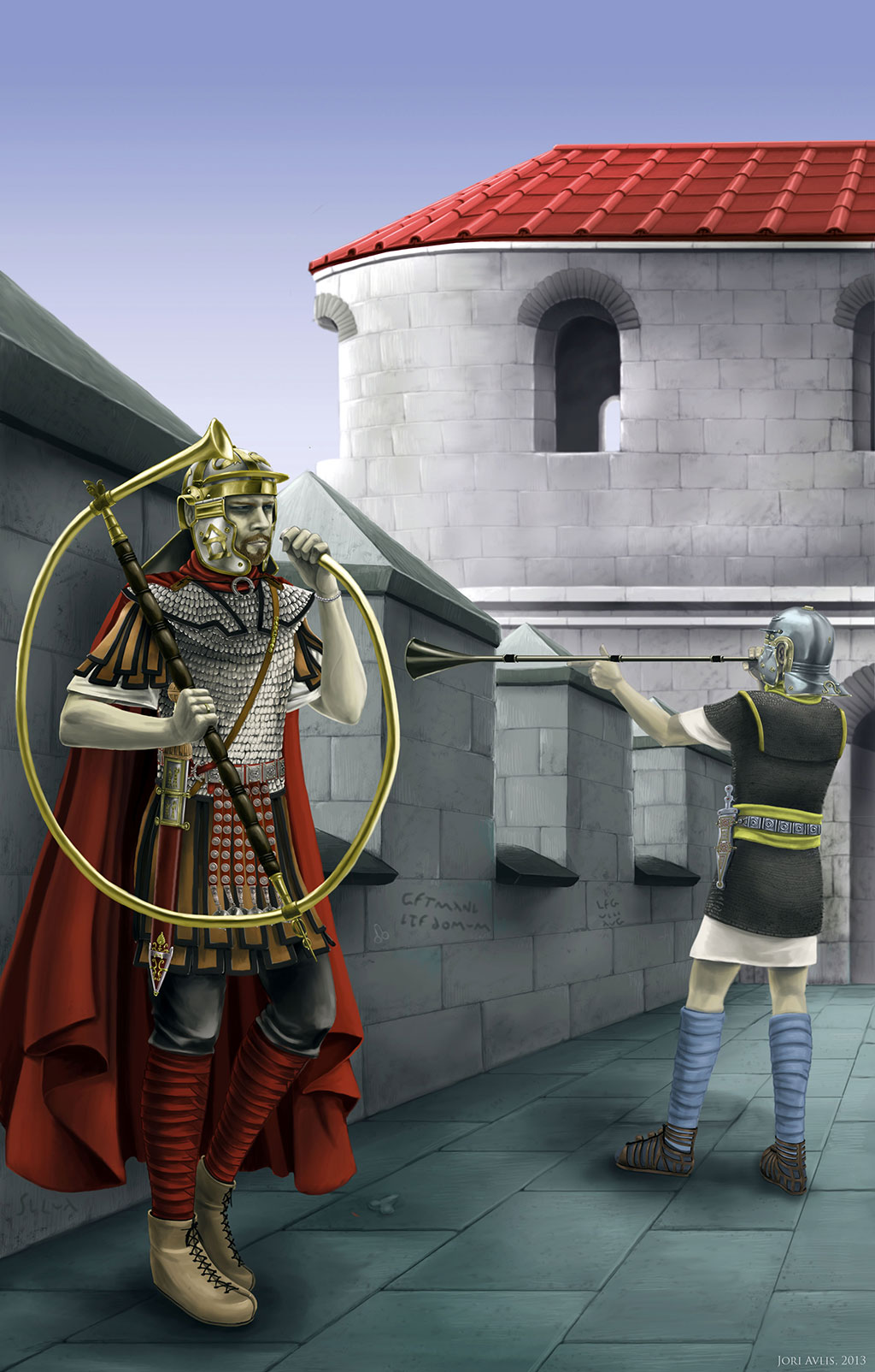 On the left, a cornicen. On the right, the tubicen.